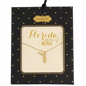 Mud Pie gold state necklace Alabama Florida NEW 16